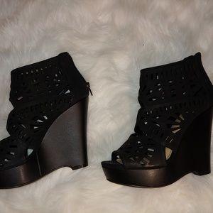 Gianni Bini Laser Cut Out wedge heels